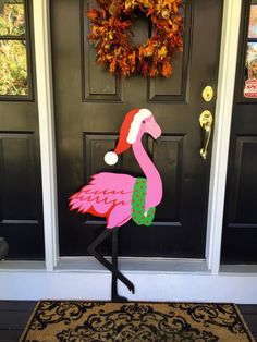 Christmas Flamingo Outdoor Lawn Decoration by OneArtsyDay on Etsy
