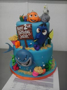 Finding Nemo Cake - particularly love the shark and dory's facial expression