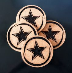 Cowboys Coasters Custom Engraved Cork Coasters by TrueloveWorks
