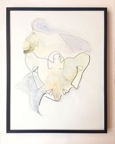 'Mirror' watercolor, pencil and ink on 40x50 cm paper - the face of a model from a croquis session #aquarelle #drawing #art #pencil #ink #watercolour #woman #sharewithgolden #qorwatercolors #framed #faces #copenhagen #tegning
