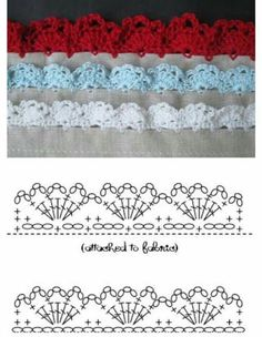 If you looking for a great border for either your crochet or knitting project, check this interesting pattern out. When you see the tutorial you will see that you will use both the knitting needle and crochet hook to work on the the wavy border. Crochet Border Patterns, Crochet Lace Edging, Crochet Diagram, Crochet Chart, Crochet Trim, Easy Crochet, Crochet Flowers, Stitch Patterns, Crochet Minecraft