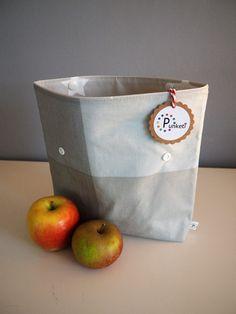 Brotbeutel & Lunchbags - Lunchbag - Brotbeutel - Bikinibag taupe grau, edel - ein Designerstück von Punketi bei DaWanda