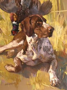 """Andre Pater, """"A Hunter's Short Hair Pointer"""", Pastel."""