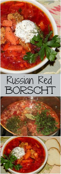 How to make Ukraine Traditional Red Borscht Recipe. Russian borscht with seasoned meat, potatoes, vegetables and herbs. Borscht Recipe, Borscht Soup, Soup Recipes, Dinner Recipes, Cooking Recipes, Healthy Recipes, Bread Recipes, Sweet Recipes, Holiday Recipes