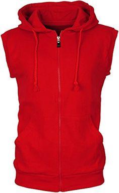 0fb3582d6e753 Angel Cola Men s Sleeveless Hoodie Zip Up Cotton Vest Red... https
