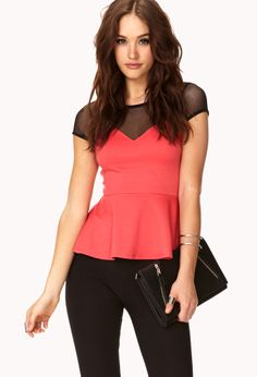 Femme Mesh-Trimmed Peplum Top | FOREVER21 Add some pep to your step #Peplum #Coral #Mesh