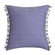 LUX-BED 1 Piece Bergen Palace NEW!! LUX-BED Collections!! 100% Cotton 200 Thread Count Purple and gold Embroidery Stich fringed decorative pillow 16x16 inch Lavender