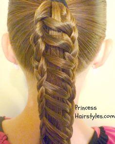 stripe braid ponytail tutorial http://www.princesshairstyles.com/2012/09/stripe-ponytail-braided-hairstyle.html