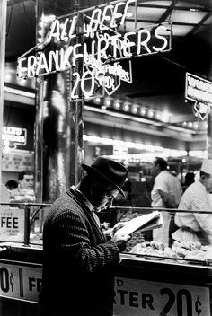 Photo by Arthur Leipzig, Nathan's, Coney Island, 1967 (please follow minkshmink on pinterest) #coneyisland #frankfurtstand #hotdogstand