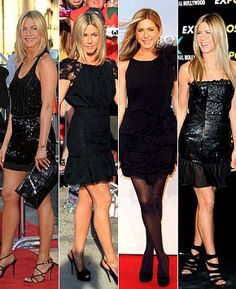 At Thursday's Horrible Bosses premiere in L.A., the 42-year-old actress wore yet another little black dress. The Balenciaga mini (paired with Versace shoes, Fred Leighton jewels and a Salvatore Ferragamo purse) seems to be Aniston's go-to look. After all, just three days earlier she sported a black Nina Ricci dress during an appearance on The Daily Show with Jon Stewart.
