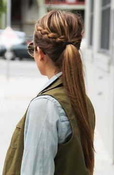 Side Bun with Double Loose Braid - 40 Two French Braid Hairstyles for Your Perfect Looks - The Trending Hairstyle Fishtail Braid Hairstyles, Braided Ponytail, Braid Bangs, Haircuts For Long Hair Straight, Cool Braids, Side Braids, Girls Braids, Trending Hairstyles, Fall Hairstyles
