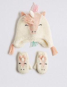 b7643eba28e Kids  Unicorn Trapper Hat   Mittens Set