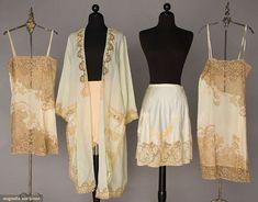 "FIVE PIECES SILK LINGERIE, 1 pale mint peignoir w/ lace & ribbon flowers / 2 identical ivory charmeuse & lace chemises w/ ""Sylvia"" embroidered above breast / 1 blush charmeuse & lace short petticoat / 1 peach silk & lace tap pant. Lingerie Vintage, Vintage Underwear, Blue Lingerie, Sheer Lingerie, Lingerie Models, 1930s Fashion, Vintage Fashion, Fashion Goth, Edwardian Fashion"
