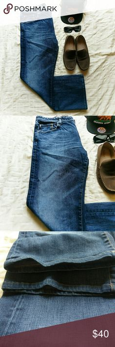 """{ Mens } AG Adriano Goldschmied Jeans *Price Negotiable *No Trades   Mens jeans from AG in """"The Hero"""" relaxed cut.  5 pocket denim, faded on the thighs a bit for that worn look. Seams and cuffs are in excellent condition! EUC  Waist 38"""" Length 34"""" AG Adriano Goldschmied Jeans Relaxed"""