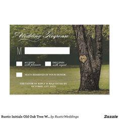 Rustic Initials Old Oak Tree Wedding RSVP Cards