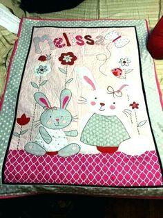 Babydecke rose lapin avec nom brodé bébé couverture Baptême Naissance Cadeau Nom
