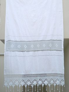 Handmade crochet curtain with atrante and lace  by naxosart, €80.00