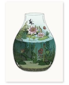 'Waterlilies' is a limited edition giclée print of an original artwork by Annie Davidson (Melbourne, VIC). Pretty Art, Cute Art, Art Inspo, Bel Art, Art Mignon, Art Et Illustration, Aesthetic Art, Oeuvre D'art, Cute Drawings