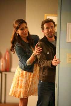 Loved Angela's yellow+white floral dress and denim jacket on Bones.