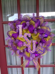 LSU Tigers Deco Mesh Door Wreath by CrazyboutDeco on Etsy, $69.00