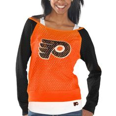 Philadelphia Flyers Women s Holey Long Sleeve Top and Tank Top II Set -  Orange Black 10b9db276a
