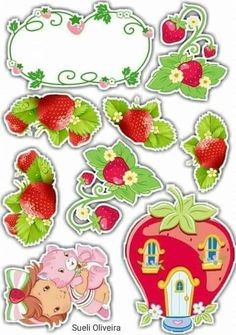 Strawberry Shortcake Party, Bolo Cake, Aesthetic Stickers, Cake Toppers, Free Printables, Decoupage, Birthdays, Card Making, Stationery