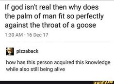 If god isn't real then why does the palm of man fit so perfectly against the throat of a goose 16 how has this person acquired this knowledge while also still being alive - iFunny :) Dankest Memes, Funny Memes, Hilarious, Lol, Cool Stuff, Random Stuff, Tumblr Funny, Funny Posts, Laugh Out Loud
