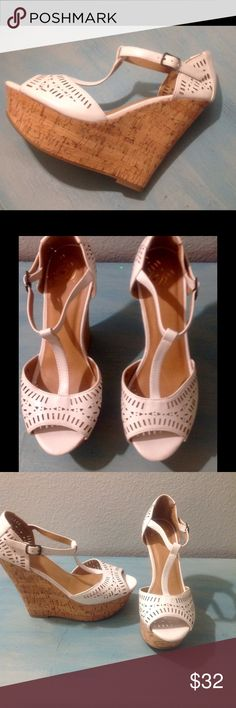 """White Leather Cork Platform Wedge Sandals Great staple for any closet! White with cork wedge platform heel with t-strap p and cutout detailing over the toe and heel. 5"""" heel with 1.5"""" platform. Very comfortable. Never worn, pristine new condition. Size 7.5 Delicious Shoes Wedges"""