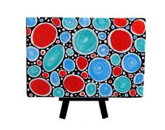 Take 20% OFF Details in Listing Small Original Abstract Painting with Display Easel Circles and Ovals shapes Modern Art http://etsy.me/uS4iWw $32