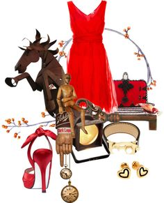 red horse, created by samshe on Polyvore