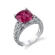 ♥ CAPTIVATING RED ♥  We adore #Sylvie's cushion-cut #ruby + #diamond ring!
