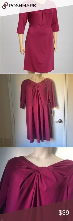 Brand New Danny & Nicole Retro Pin-up Dress Brand new with tags, no flaws. Dark pink/raspberry color. Twist neck, retro styling. Size 2x, fits true to size. Great for the office or date night. Danny & Nicole Dresses Long Sleeve