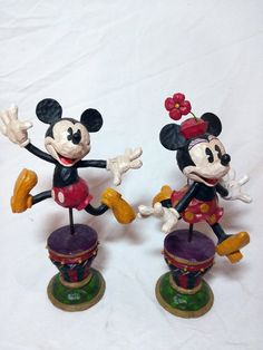 394ddb680c4 Jumping pie eyed Mickey  amp  Minnie Mouse retired figures Authentic Disney  Parks  Disney Mickey