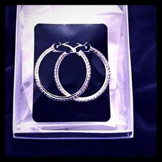 """Rhinestone Hoop Earrings Silver Rhinestone Hoop Earrings from New a Wholesale Seller! Beautiful! Color:Silver AB, Size: 1 1/4"""" W. Please do not purchase this listing. Like or leave Comment and I will create a new posting for you. Photos by Farah Jewelry Farah Jewelry Jewelry Earrings"""