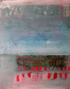 Brooke Wandall - Red Dash, Original abstract landscape oil painting on paper