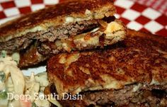 Classic Patty Melt - A diner classic, Patty Melts are made with very thin, oval shaped burger patties, and served on thin grilled rye bread, with caramelized onion, and Swiss cheese.