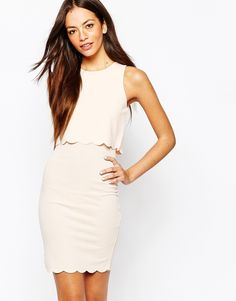 Image 1 of New Look Scallop Edge Bodycon Dress