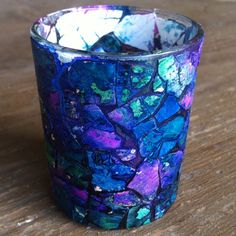 Votive candle eggshell mosaic. Looks gorgeous when lit and the light reflects out of the cracks.