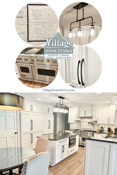 Geneseo, IL kitchen remodel with painted Ivory white Koch Cabinets, granite counters, and tuscan-inspired wall tile. | villagehomestores.com Ivory Cabinets, Ivory Paint, Granite Counters, Traditional Kitchen, At Home Store, Painting Cabinets, Ivory White, Kitchen Styling, Bathroom Inspiration
