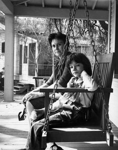 Harper Lee and Mary Badham as Scout in 1962 on the set.
