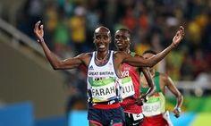 Mo Farah celebrates winning the men's 10,000m final at the Olympics Stadium in Rio.
