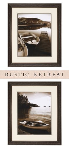 The Row Boat Sucia set of two artwork features an image of a boat in sepia tones, invoking a calm day at the lake.