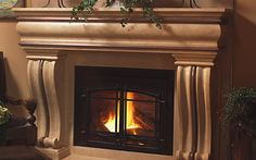 All our fireplace mantels/overmantels are lightweight thin cast stone, making preparation and installation much easier than other custom stone mantel … Stone Fireplace Surround, Stone Fireplace Mantel, Brick Fireplace Makeover, Stove Fireplace, Fireplace Inserts, Fireplace Design, Fireplaces, Traditional Fireplace, Fireplace Accessories