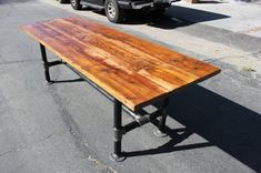 Rustic Reclaimed Wood Table with Industrial Pipe Legs. $1,100.00, via Etsy. by Olive Oyl