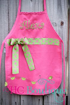 Personalized Child's Apron with ribbon and Bow Regular Size on Etsy, $16.00