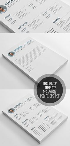 Resume CV Template MS Word, PSD, AI, EPS, PDF