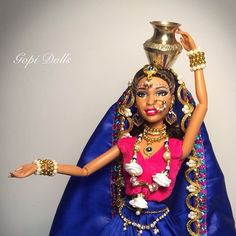 """Still available for sale :) email:gopidolls@gmail.com or go to my etsy shop """"GopiDesigns"""" #doll #dollstagram #oooakdoll #ooakbarbie #barbie #customizeddoll #dollography #gopidolls #gopidoll #gopiskirt #gopis #radha"""