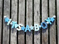 """ITS IT´S A BOY"" HOLZ GIRLANDE SHABBY CHIC BABY SHOWER HOLZGIRLANDE GESCHENK"