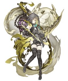 View an image titled 'Gretel, Envy Serpent Half-Nightmare Job Art' in our SINoALICE art gallery featuring official character designs, concept art, and promo pictures. Female Character Design, Character Design References, Character Design Inspiration, Character Concept, Character Art, Concept Art, Fantasy Characters, Cute Characters, Anime Characters