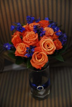 Orange & Navy bouquet